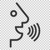 Control por voz con el icono de las ondas acústicas en estilo plano Hable el control ilustración del vector