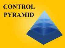 CONTROL PYRAMID concept. 3D illustration of CONTROL PYRAMID script with sliced pyramid on orange gradient background Royalty Free Stock Image