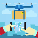 Control quadrocopters from phone Royalty Free Stock Photo