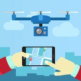 Control quadrocopters from phone Stock Photo