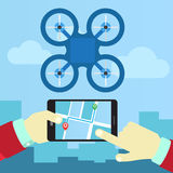 Control quadrocopters from phone Royalty Free Stock Images