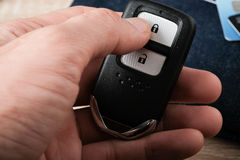 Control remote key holding in hand. Security concept Stock Photos