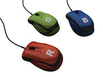 Control of RGB colour the mouse Stock Photo