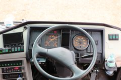 Control room area, driving console, large front car, bus, tour bus stock photography