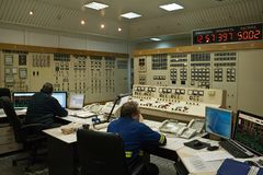 Control room on electric power plant Royalty Free Stock Photo