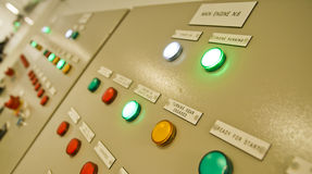 Control room of a extra large cargo ship. Stock Photo