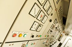 Control room of a extra large cargo ship. Control Room of an extra large ship - with all buttons panel, emergency stop Stock Photos