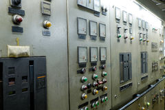 Control room of a extra large retro ship Stock Photos