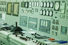 Control Room of an extra large ship. Engine Control Room with all indicators, readers, manometers. etc.No logos or trademarks on this photo Stock Photography