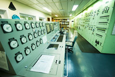 Control Room of an extra large ship. Royalty Free Stock Photography