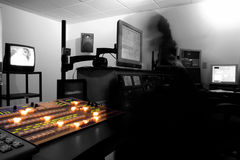 Control Room Ghost. Creative Blur of Tech Ghost in Master Control stock image