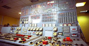 Control room inside old power generation plant Royalty Free Stock Photography