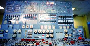 Control room of an old power generation plant Stock Photos