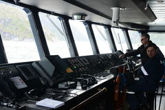 In the control room of the passenger ship `Via Australis` in the archipelago of Tierra del Fuego. Stock Photo