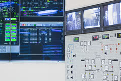Control room in power factory. Control room of a power generation plant Royalty Free Stock Photos