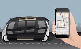 Control of self driving bus by mobile app. Vector illustration EPS 10 Stock Image
