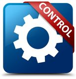 Control (settings icon) blue square button red ribbon in corner Royalty Free Stock Photos