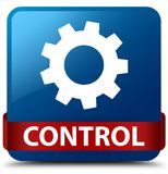 Control (settings icon) blue square button red ribbon in middle Stock Photos