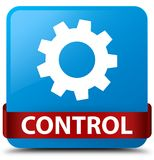 Control (settings icon) cyan blue square button red ribbon in mi Stock Image