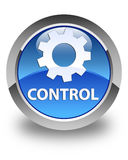 Control (settings icon) glossy blue round button Stock Photos