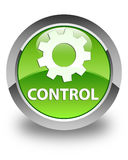 Control (settings icon) glossy green round button Stock Image