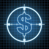 Control on Spending and savings. Concept and hunting for money and looking for wealth ideas with a target in the shape of a dollar sign on a black and blue grid Stock Photo