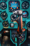 Control stick of helicopter Stock Photos