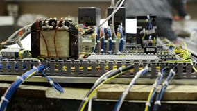 Control system of a modern CNC machine. Electrical modules and cables are mounted on the circuit board stock footage