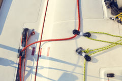 Control system staysail on sports yacht. Stock Photography