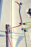 Control system staysail on sports yacht. Stock Image