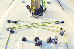 Control system staysail on sports yacht. Royalty Free Stock Photos