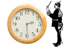 Obeying or controlling time. Control the time, command the time, obey the time. The image is metaphorically a stylized person in uniform that stops time royalty free stock photography