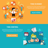 Control Time Horizontal Banners. Two horizontal time management banners with social pictogram compositions of working people characters and clock icons vector Royalty Free Stock Photos