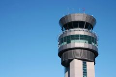 Control tower. Airport control tower in a blue sky Stock Photo