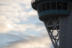 Control Tower. Airport control tower detail Stock Photo
