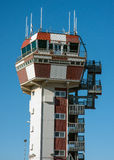 Control tower at the airport of Genoa, Italy. Control tower at the airport of Genoa on a summer day, Italy Royalty Free Stock Images