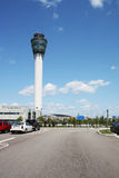 Control tower at an airport vertical Royalty Free Stock Photos