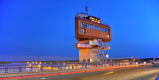 Control tower at  Danube channel in Slovakia Royalty Free Stock Photography