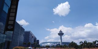 Control tower and Jewel Changi Airport royalty free stock photos