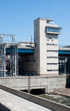 Control tower  on the locks on the  Volga river Stock Image