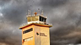 Control tower. Puerto Vallarta Mexico Atc control tower during the sunset by the beach stock photography