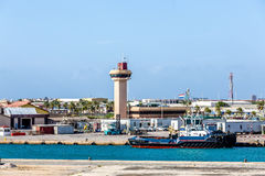 Control Tower in Shipping Terminal Royalty Free Stock Photos