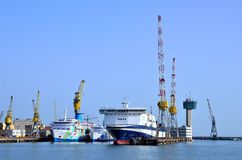 The control tower and views of the port of Genoa Stock Photos