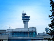 Control towers of Kemal Ataturk Airport in Istanbul, Turkey. Stock Photo