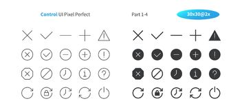Control UI Pixel Perfect Well-crafted Vector Thin Line And Solid Icons 30 2x Grid for Web Graphics and Apps. Simple Minimal Pictogram Part 1-4 Royalty Free Stock Photos