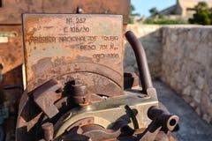 The control unit artelliriyskoy gun with the information era of World War II. Spain, Alicante, Santa Barbara castle. Stock Images