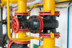 Control valve gas boiler room. Royalty Free Stock Images