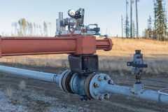 Control valve on gas line. Red control valve on natural gas line Stock Photos