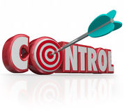 Control Word Arrow Target Bull's Eye Command Position Leadership. Control word with bulls-eye in letter O targeting a position of power, influence, leadership Stock Photos
