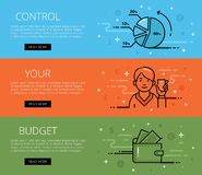 Control Your Budget. Line vector web banners set Stock Image